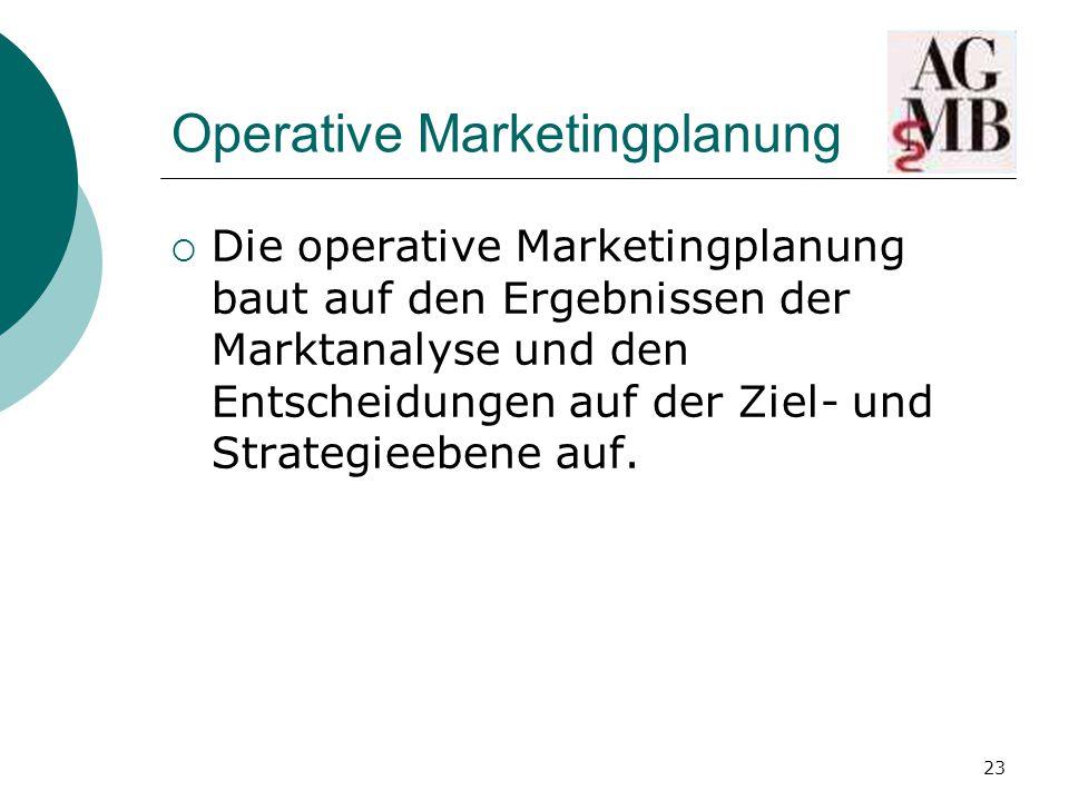 23 Operative Marketingplanung  Die operative Marketingplanung baut auf den Ergebnissen der Marktanalyse und den Entscheidungen auf der Ziel- und Strategieebene auf.