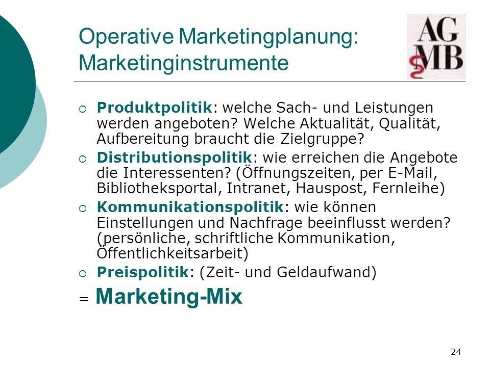 24 Operative Marketingplanung: Marketinginstrumente  Produktpolitik: welche Sach- und Leistungen werden angeboten.