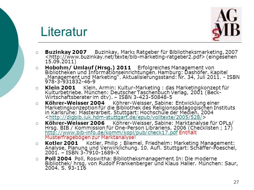 27 Literatur  Buzinkay 2007 Buzinkay, Mark: Ratgeber für Bibliotheksmarketing, 2007 (eingesehen 15.09.2011)  Hobohm/ Umlauf (Hrsg.) 2011 Erfolgreiches Management von Bibliotheken und Informationseinrichtungen.