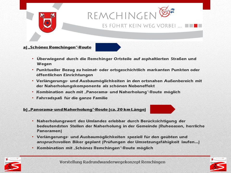 """a) """"Schönes Remchingen""""-Route Überwiegend durch die Remchinger Ortsteile auf asphaltierten Straßen und Wegen Punktueller Bezug zu heimat- oder ortsges"""