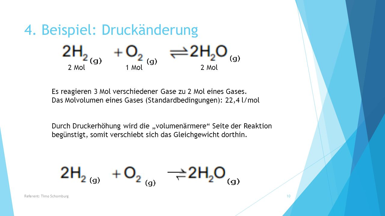 4. Beispiel: Druckänderung 2 Mol1 Mol2 Mol Es reagieren 3 Mol verschiedener Gase zu 2 Mol eines Gases. Das Molvolumen eines Gases (Standardbedingungen
