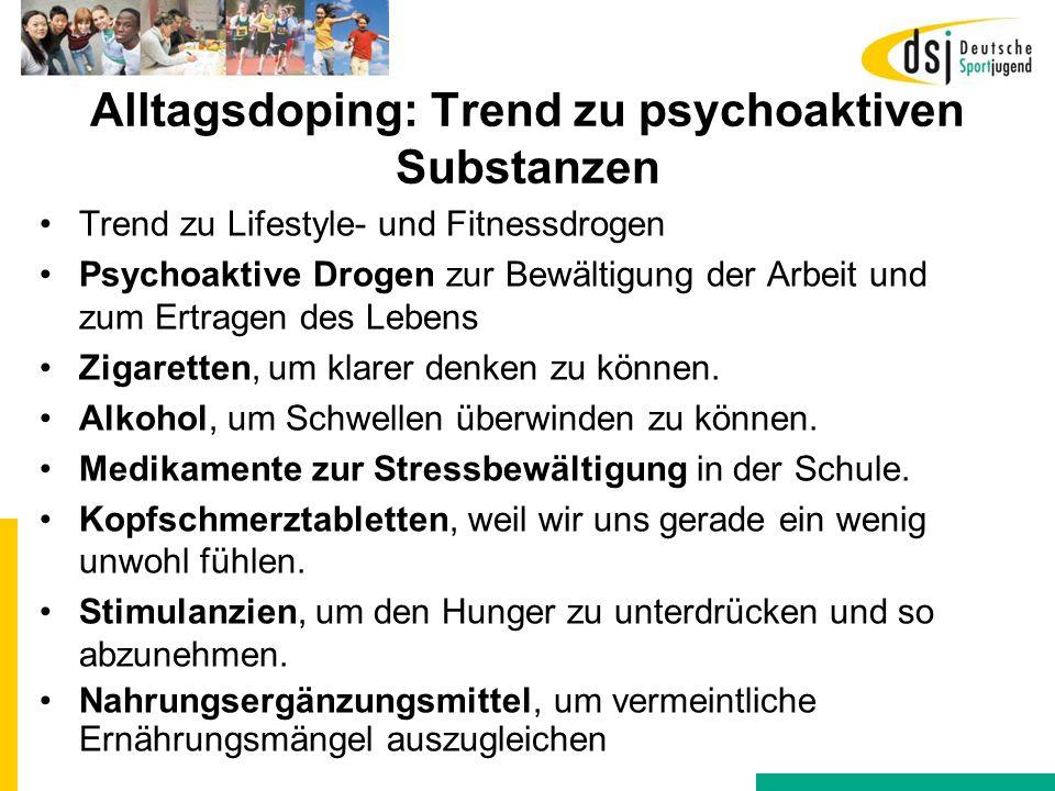 Alltagsdoping: Trend zu psychoaktiven Substanzen Trend zu Lifestyle- und Fitnessdrogen Psychoaktive Drogen zur Bewältigung der Arbeit und zum Ertragen