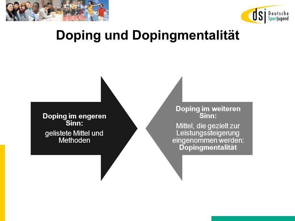 Doping und Dopingmentalität Doping im engeren Sinn: gelistete Mittel und Methoden Doping im weiteren Sinn: Mittel, die gezielt zur Leistungssteigerung