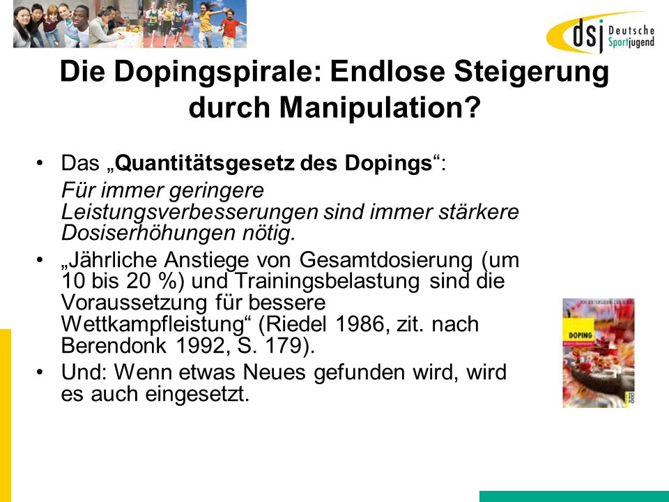 """Die Dopingspirale: Endlose Steigerung durch Manipulation? Das """"Quantitätsgesetz des Dopings"""": Für immer geringere Leistungsverbesserungen sind immer s"""