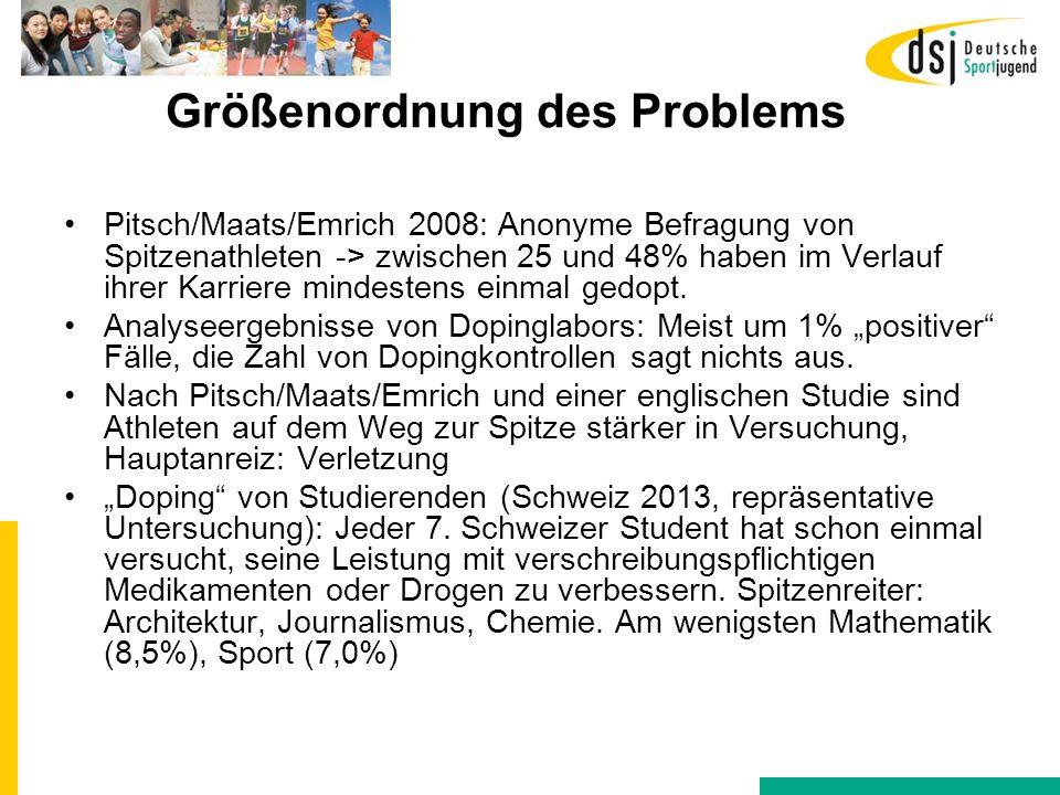 Größenordnung des Problems Pitsch/Maats/Emrich 2008: Anonyme Befragung von Spitzenathleten -> zwischen 25 und 48% haben im Verlauf ihrer Karriere mind