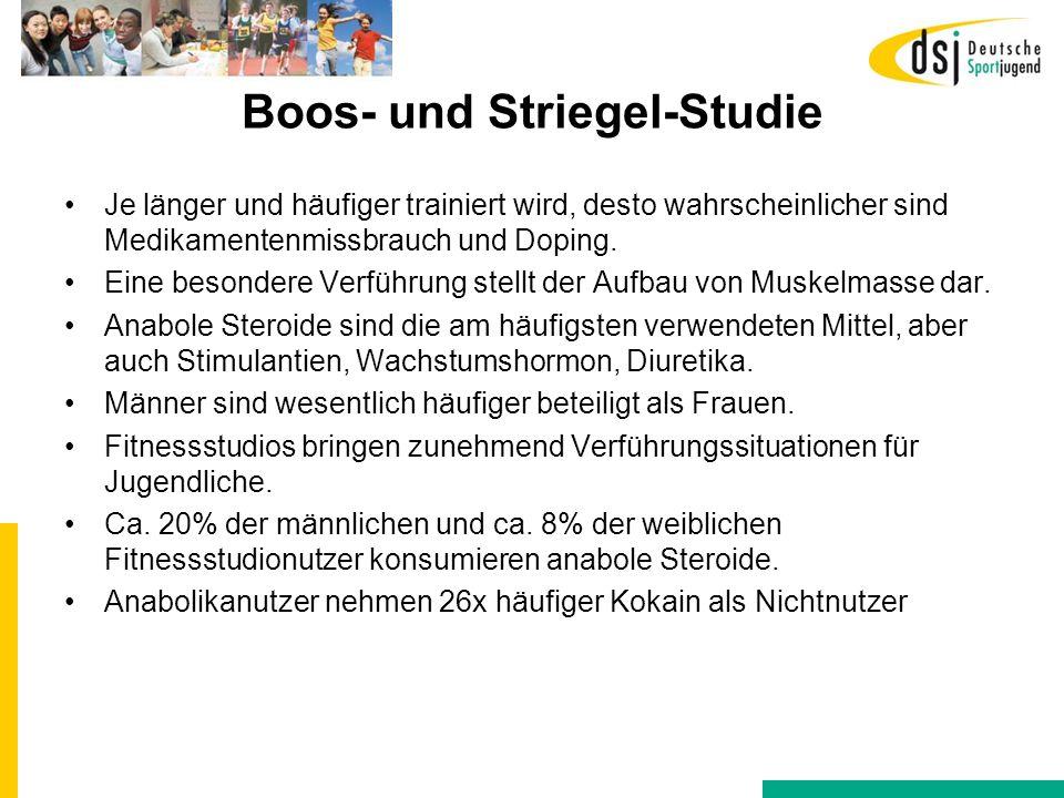 Boos- und Striegel-Studie Je länger und häufiger trainiert wird, desto wahrscheinlicher sind Medikamentenmissbrauch und Doping. Eine besondere Verführ