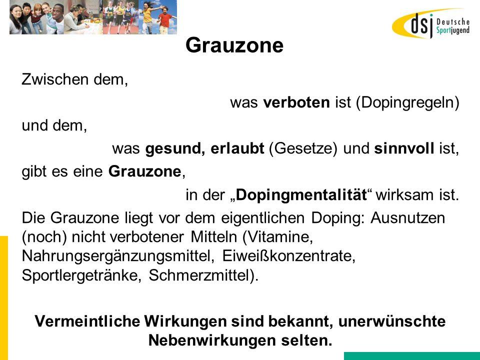 """Grauzone Zwischen dem, was verboten ist (Dopingregeln) und dem, was gesund, erlaubt (Gesetze) und sinnvoll ist, gibt es eine Grauzone, in der """"Dopingm"""