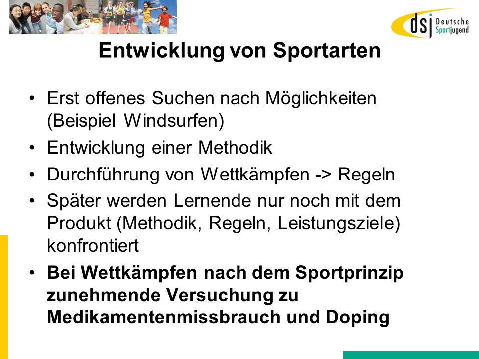 Entwicklung von Sportarten Erst offenes Suchen nach Möglichkeiten (Beispiel Windsurfen) Entwicklung einer Methodik Durchführung von Wettkämpfen -> Reg