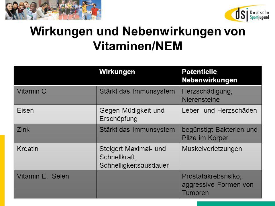 Wirkungen und Nebenwirkungen von Vitaminen/NEM