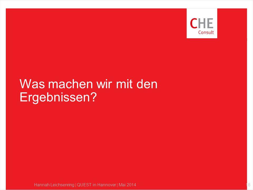 Was machen wir mit den Ergebnissen? Hannah Leichsenring | QUEST in Hannover | Mai 201418