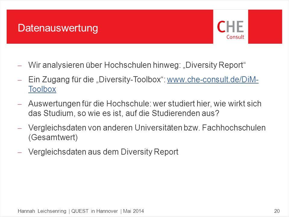 """ Wir analysieren über Hochschulen hinweg: """"Diversity Report  Ein Zugang für die """"Diversity-Toolbox : www.che-consult.de/DiM- Toolboxwww.che-consult.de/DiM- Toolbox  Auswertungen für die Hochschule: wer studiert hier, wie wirkt sich das Studium, so wie es ist, auf die Studierenden aus."""