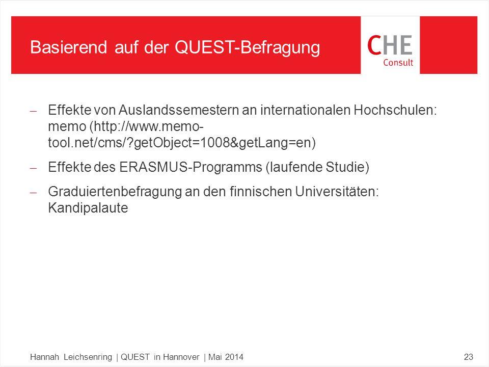  Effekte von Auslandssemestern an internationalen Hochschulen: memo (http://www.memo- tool.net/cms/ getObject=1008&getLang=en)  Effekte des ERASMUS-Programms (laufende Studie)  Graduiertenbefragung an den finnischen Universitäten: Kandipalaute Basierend auf der QUEST-Befragung Hannah Leichsenring | QUEST in Hannover | Mai 201423