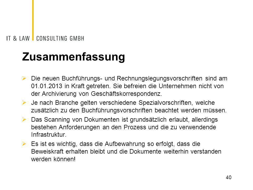 Zusammenfassung  Die neuen Buchführungs- und Rechnungslegungsvorschriften sind am 01.01.2013 in Kraft getreten. Sie befreien die Unternehmen nicht vo
