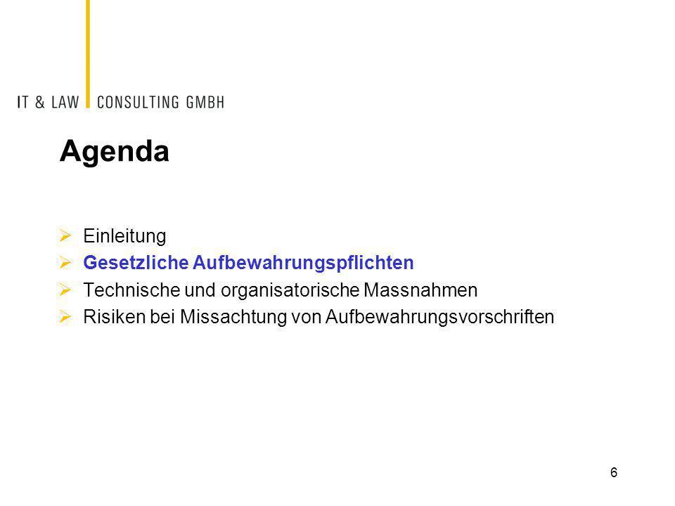 Agenda  Einleitung  Gesetzliche Aufbewahrungspflichten  Technische und organisatorische Massnahmen  Risiken bei Missachtung von Aufbewahrungsvorsc