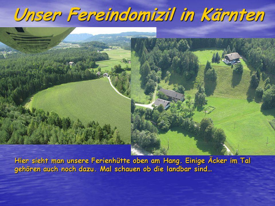 Unser Fereindomizil in Kärnten Hier sieht man unsere Ferienhütte oben am Hang.