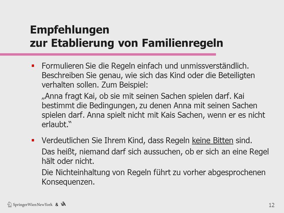 12 Empfehlungen zur Etablierung von Familienregeln  Formulieren Sie die Regeln einfach und unmissverständlich. Beschreiben Sie genau, wie sich das Ki