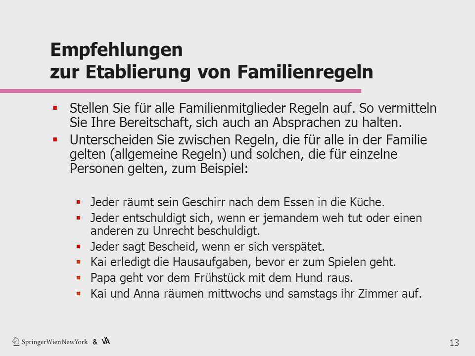 13 Empfehlungen zur Etablierung von Familienregeln  Stellen Sie für alle Familienmitglieder Regeln auf. So vermitteln Sie Ihre Bereitschaft, sich auc