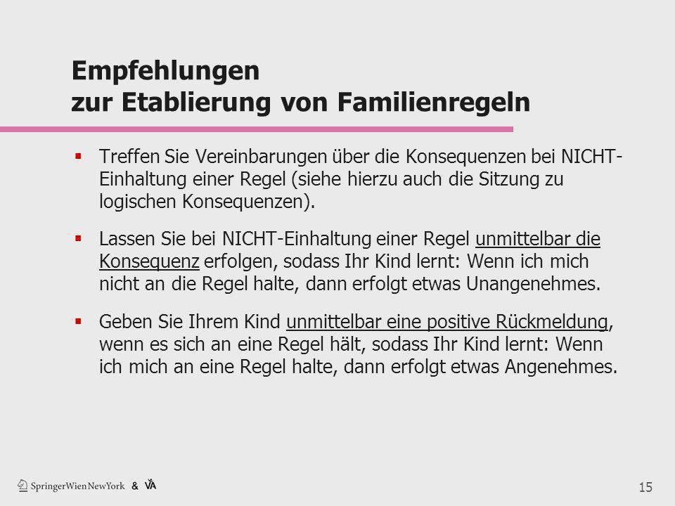 15 Empfehlungen zur Etablierung von Familienregeln  Treffen Sie Vereinbarungen über die Konsequenzen bei NICHT- Einhaltung einer Regel (siehe hierzu