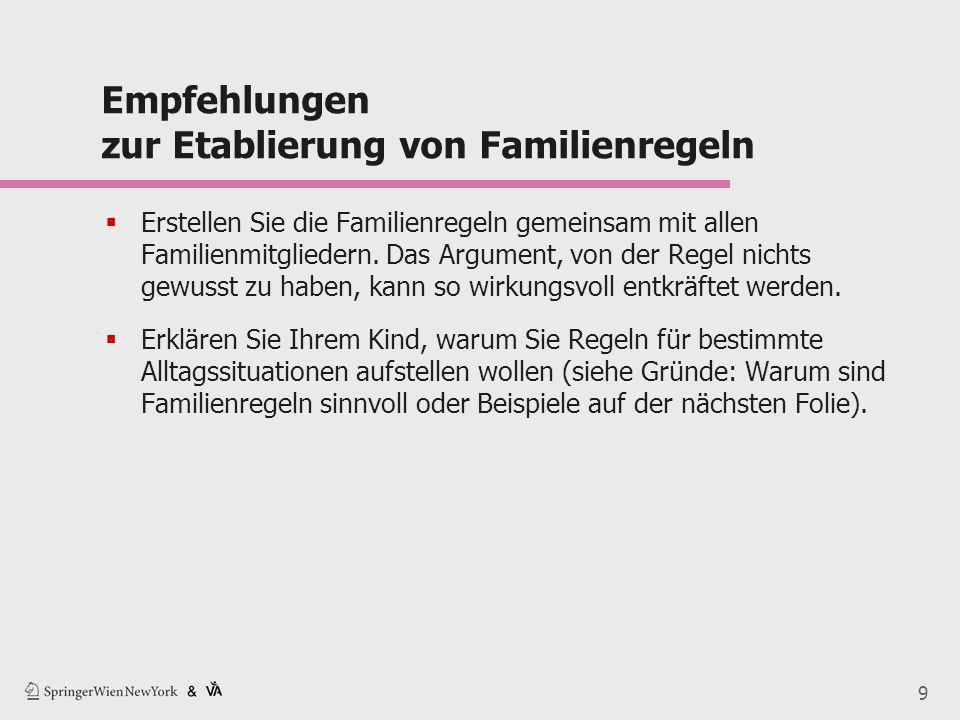9 Empfehlungen zur Etablierung von Familienregeln  Erstellen Sie die Familienregeln gemeinsam mit allen Familienmitgliedern. Das Argument, von der Re