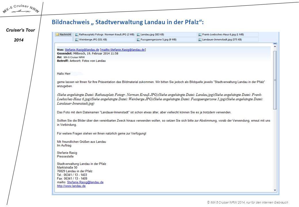 """Bildnachweis """" Stadtverwaltung Landau in der Pfalz : © MX-5 Cruiser NRW 2014, nur für den internen Gebrauch"""