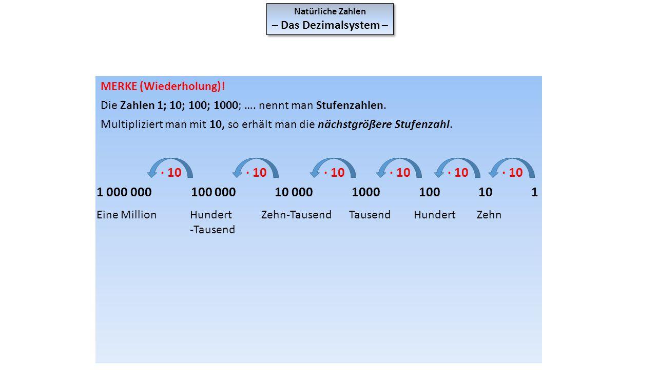 Natürliche Zahlen – Das Dezimalsystem – Natürliche Zahlen – Das Dezimalsystem – MERKE (Wiederholung)! Die Zahlen 1; 10; 100; 1000; …. nennt man Stufen