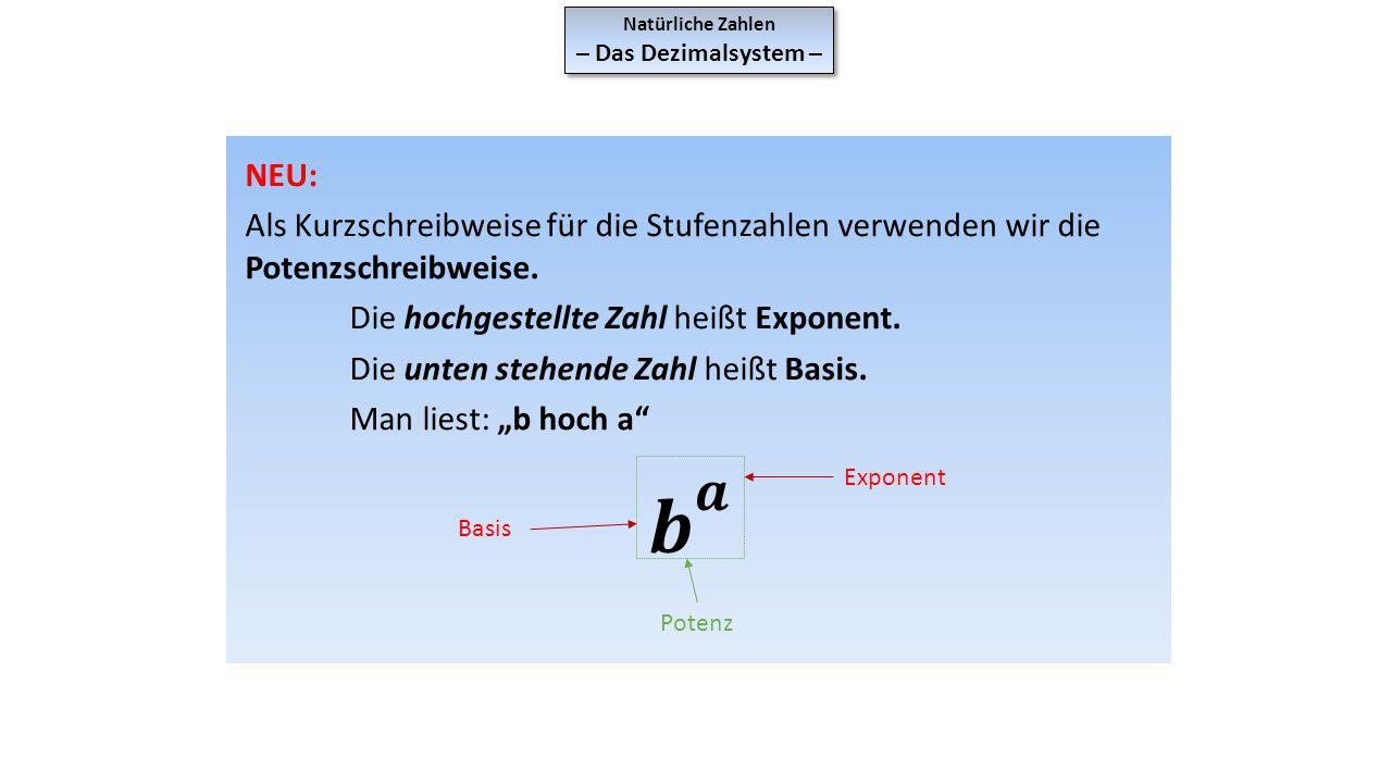 Natürliche Zahlen – Das Dezimalsystem – Natürliche Zahlen – Das Dezimalsystem – Wir verwenden vorerst nur Potenzen mit der Basis 10.