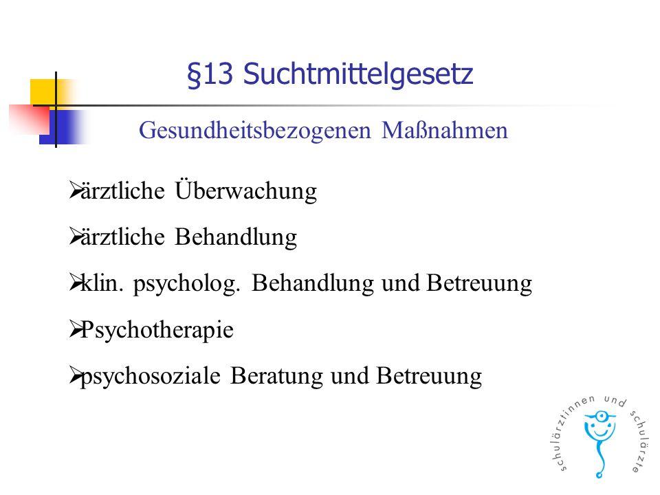 §13 Suchtmittelgesetz  ärztliche Überwachung  ärztliche Behandlung  klin. psycholog. Behandlung und Betreuung  Psychotherapie  psychosoziale Bera