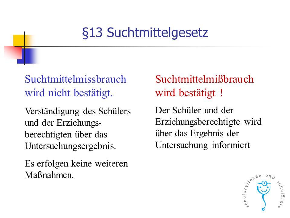 §13 Suchtmittelgesetz Suchtmittelmissbrauch wird nicht bestätigt. Verständigung des Schülers und der Erziehungs- berechtigten über das Untersuchungser