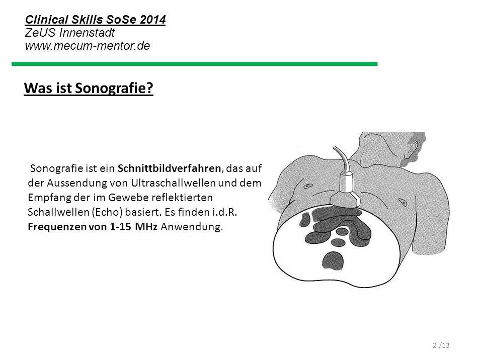 Clinical Skills SoSe 2014 ZeUS Innenstadt www.mecum-mentor.de /13 Prinzip Ein Bild wird mit Hilfe von Ultraschall dadurch erzeugt, dass der in den Körper eingestrahlte Ultraschall an den verschiedenen Geweben unterschiedlich reflektiert wird.