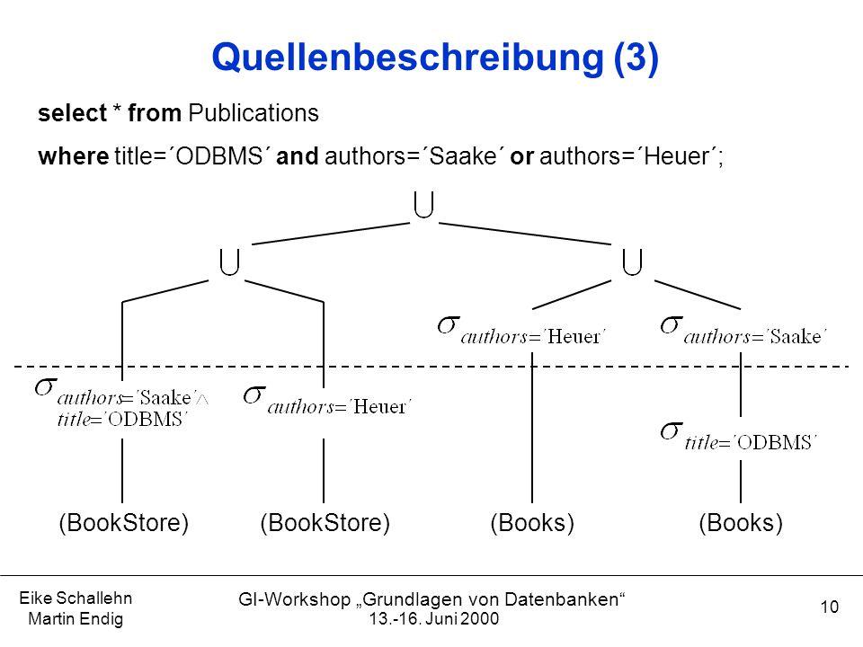 """13.-16. Juni 2000 Eike Schallehn Martin Endig 10 GI-Workshop """"Grundlagen von Datenbanken"""" Quellenbeschreibung (3) (BookStore) (Books) select * from Pu"""