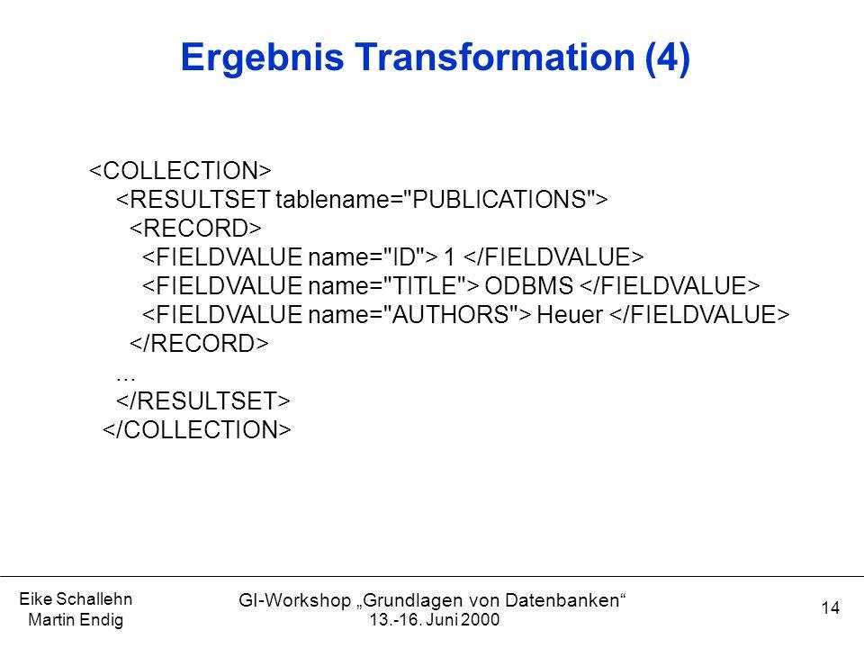 """13.-16. Juni 2000 Eike Schallehn Martin Endig 14 GI-Workshop """"Grundlagen von Datenbanken"""" Ergebnis Transformation (4) 1 ODBMS Heuer..."""