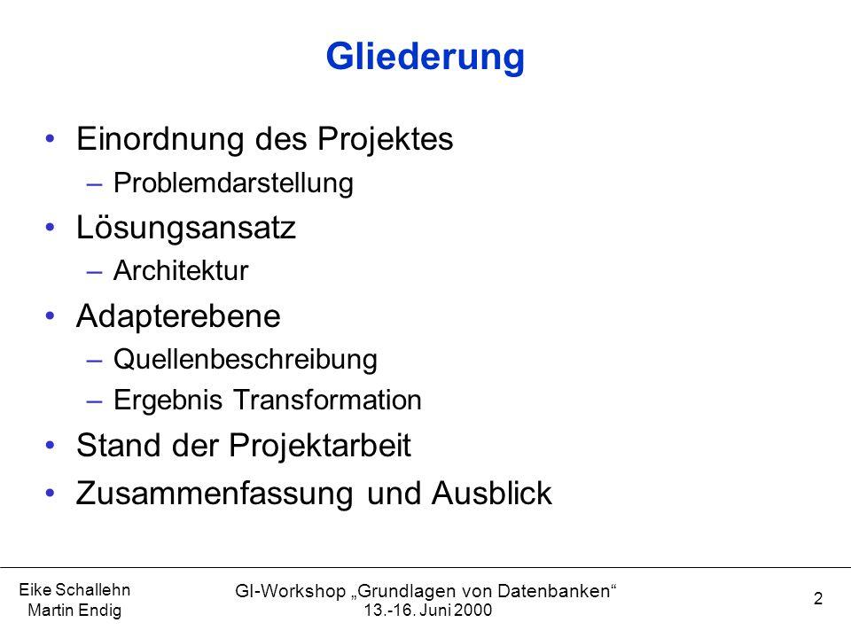 """Eike Schallehn Martin Endig 2 GI-Workshop """"Grundlagen von Datenbanken"""" Gliederung Einordnung des Projektes –Problemdarstellung Lösungsansatz –Architek"""