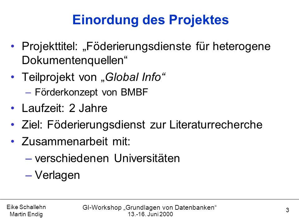 """13.-16. Juni 2000 Eike Schallehn Martin Endig 3 GI-Workshop """"Grundlagen von Datenbanken"""" Einordung des Projektes Projekttitel: """"Föderierungsdienste fü"""