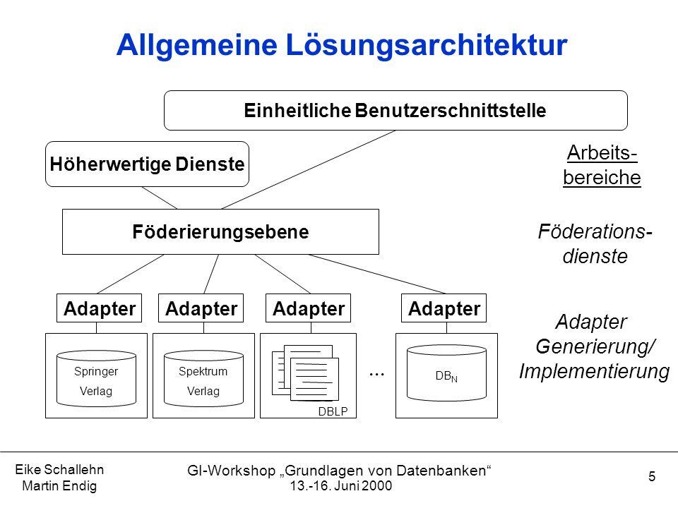 """13.-16. Juni 2000 Eike Schallehn Martin Endig 5 GI-Workshop """"Grundlagen von Datenbanken"""" Allgemeine Lösungsarchitektur Föderations- dienste Adapter Ge"""