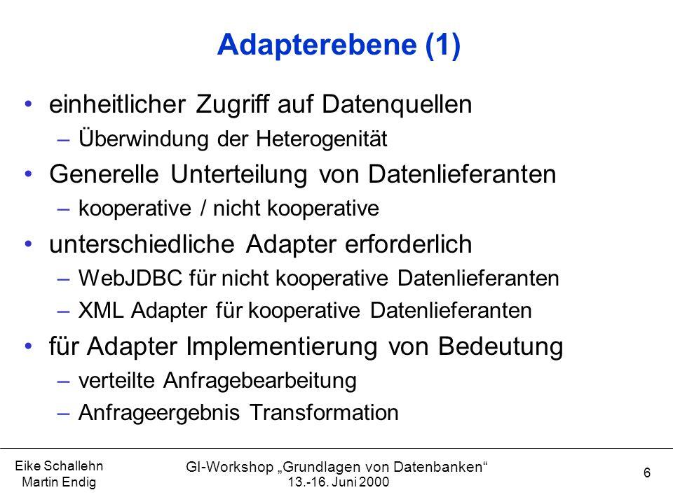 """13.-16. Juni 2000 Eike Schallehn Martin Endig 6 GI-Workshop """"Grundlagen von Datenbanken"""" Adapterebene (1) einheitlicher Zugriff auf Datenquellen –Über"""