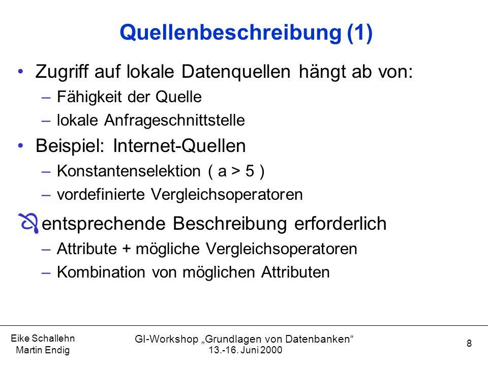 """13.-16. Juni 2000 Eike Schallehn Martin Endig 8 GI-Workshop """"Grundlagen von Datenbanken"""" Quellenbeschreibung (1) Zugriff auf lokale Datenquellen hängt"""