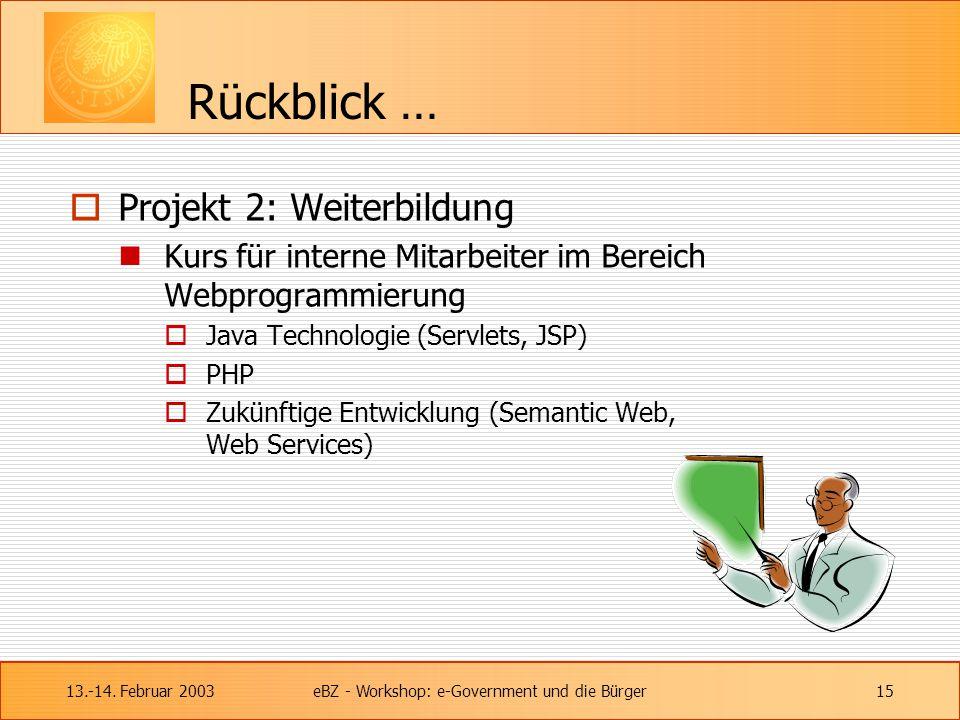 13.-14. Februar 2003eBZ - Workshop: e-Government und die Bürger15 Rückblick …  Projekt 2: Weiterbildung Kurs für interne Mitarbeiter im Bereich Webpr