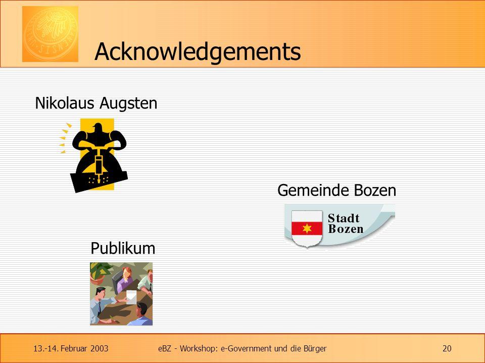 13.-14. Februar 2003eBZ - Workshop: e-Government und die Bürger20 Acknowledgements Nikolaus Augsten Gemeinde Bozen Publikum