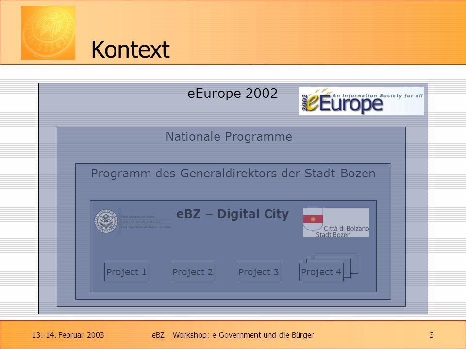 13.-14. Februar 2003eBZ - Workshop: e-Government und die Bürger3 Kontext Nationale Programme Programm des Generaldirektors der Stadt Bozen eBZ – Digit