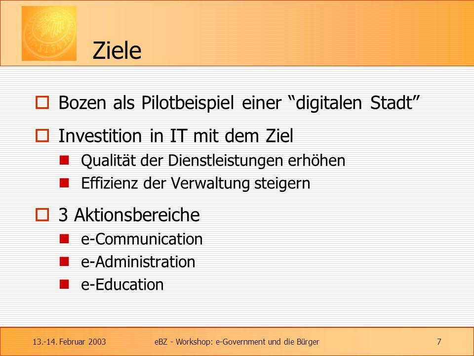 """13.-14. Februar 2003eBZ - Workshop: e-Government und die Bürger7 Ziele  Bozen als Pilotbeispiel einer """"digitalen Stadt""""  Investition in IT mit dem Z"""