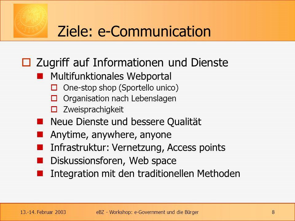 13.-14. Februar 2003eBZ - Workshop: e-Government und die Bürger8 Ziele: e-Communication  Zugriff auf Informationen und Dienste Multifunktionales Webp