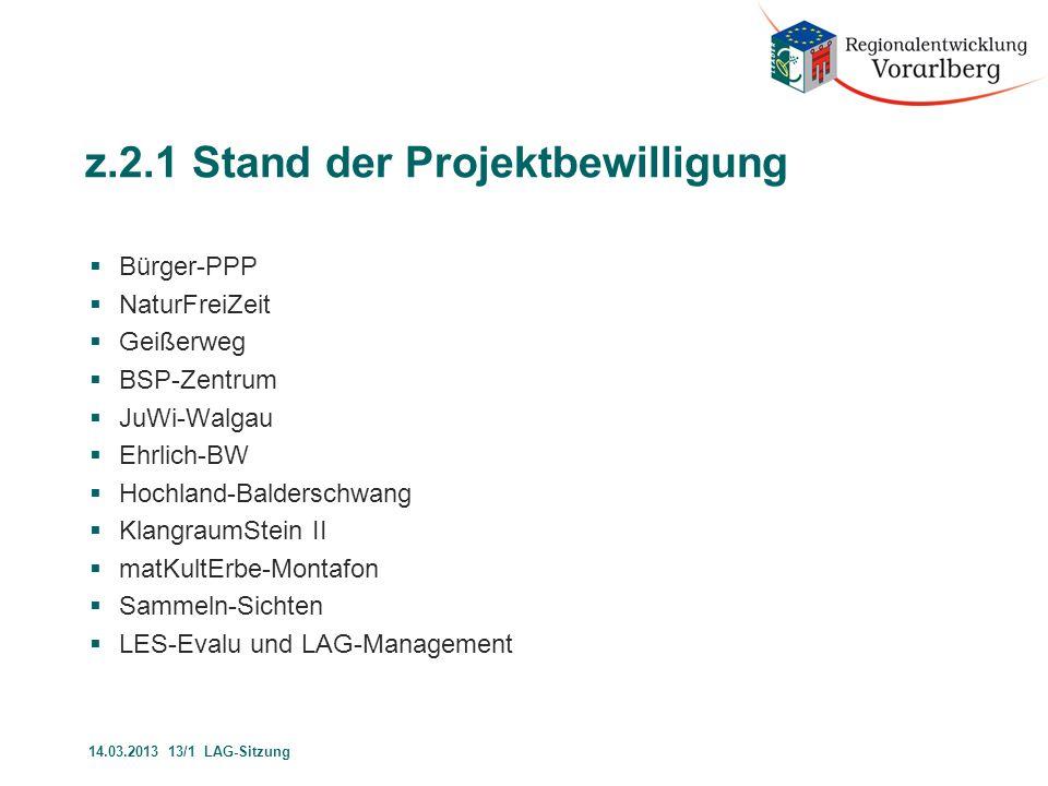 z.2.1 Stand der Projektbewilligung  Bürger-PPP  NaturFreiZeit  Geißerweg  BSP-Zentrum  JuWi-Walgau  Ehrlich-BW  Hochland-Balderschwang  Klangr