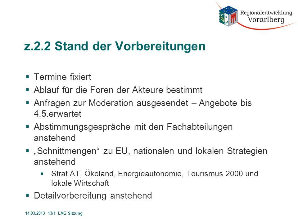 z.2.3 SVL-Bericht  Stand der Programmumsetzung  Stand der Programm Vorbereitung 14.03.2013 13/1 LAG-Sitzung