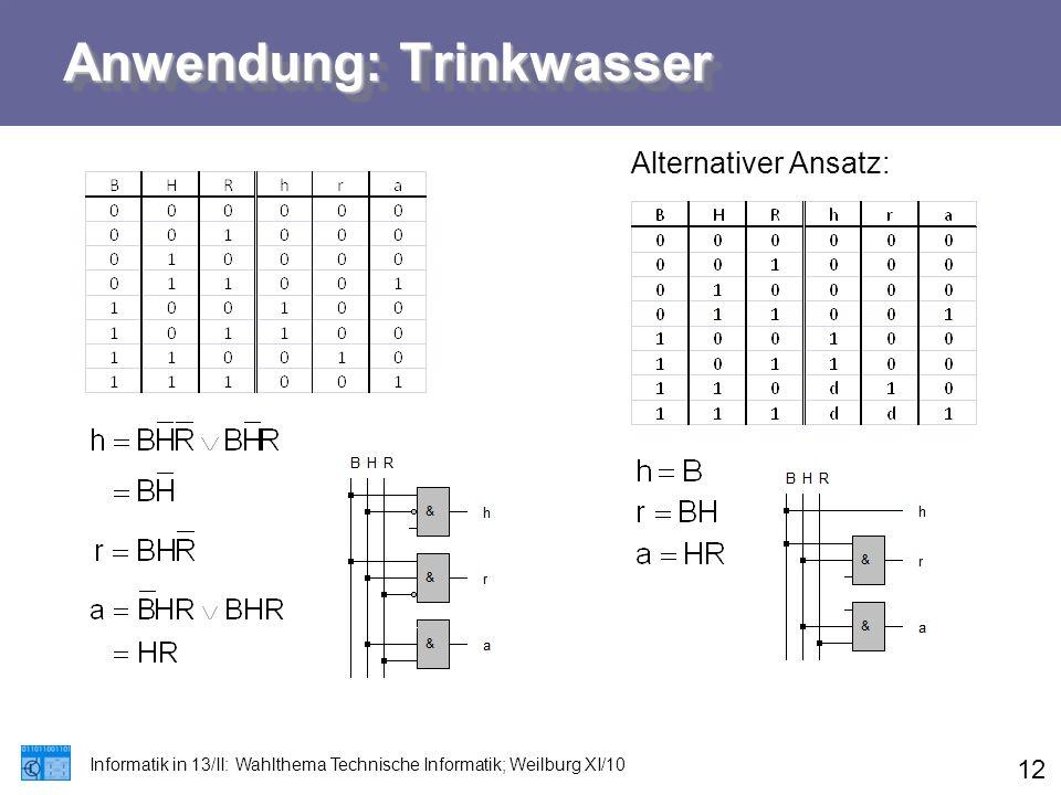 Anwendung: Trinkwasser Informatik in 13/II: Wahlthema Technische Informatik; Weilburg XI/10 12 Alternativer Ansatz: