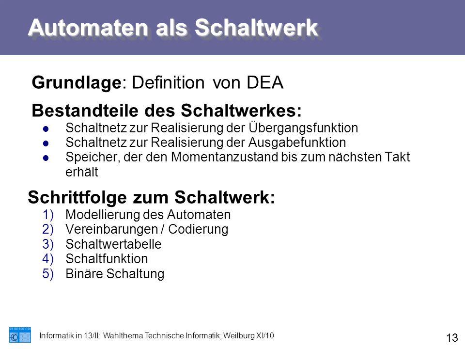 Automaten als Schaltwerk Informatik in 13/II: Wahlthema Technische Informatik; Weilburg XI/10 13 Grundlage: Definition von DEA Bestandteile des Schalt