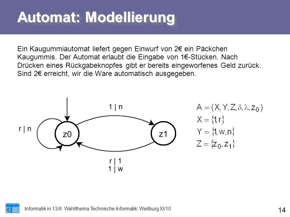 Automat: Modellierung Informatik in 13/II: Wahlthema Technische Informatik; Weilburg XI/10 14 Ein Kaugummiautomat liefert gegen Einwurf von 2€ ein Päc