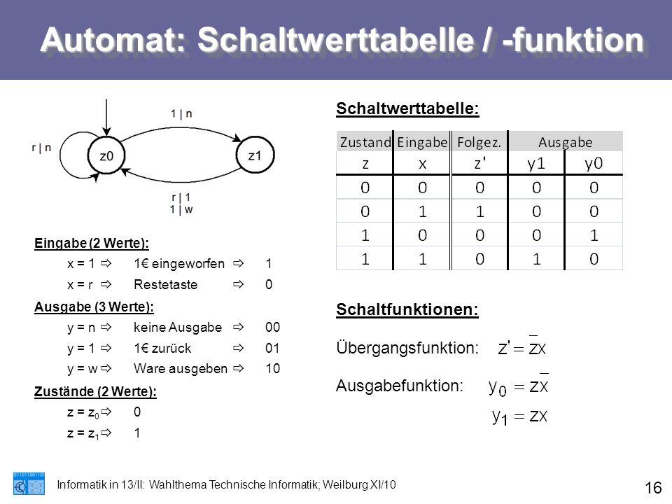 Automat: Schaltwerttabelle / -funktion Informatik in 13/II: Wahlthema Technische Informatik; Weilburg XI/10 16 Eingabe (2 Werte): x = 1  1€ eingeworf