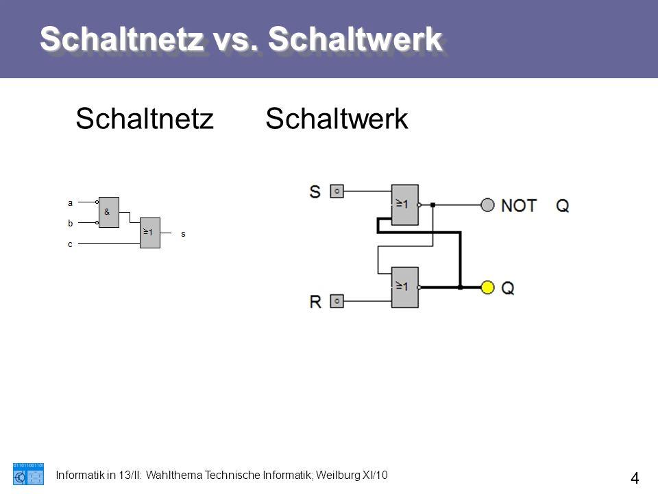 Schaltnetz vs. Schaltwerk SchaltnetzSchaltwerk Informatik in 13/II: Wahlthema Technische Informatik; Weilburg XI/10 4