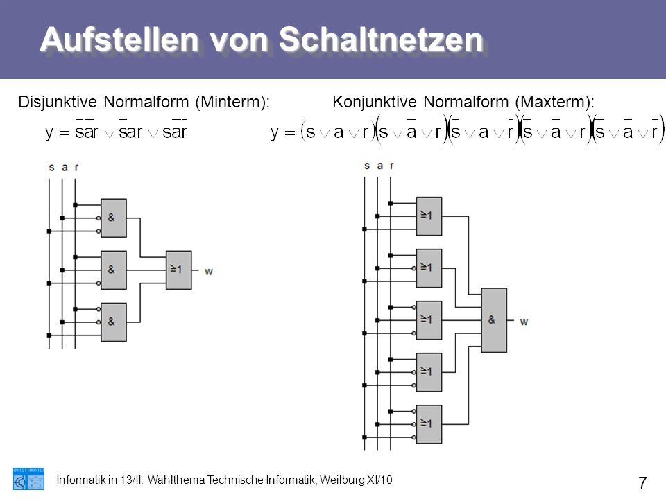 Aufstellen von Schaltnetzen Informatik in 13/II: Wahlthema Technische Informatik; Weilburg XI/10 7 Disjunktive Normalform (Minterm):Konjunktive Normal