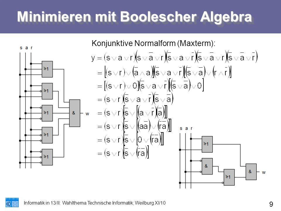 Minimieren mit Boolescher Algebra Informatik in 13/II: Wahlthema Technische Informatik; Weilburg XI/10 9 Konjunktive Normalform (Maxterm):